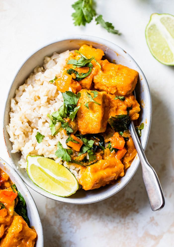 tofu curry over rice