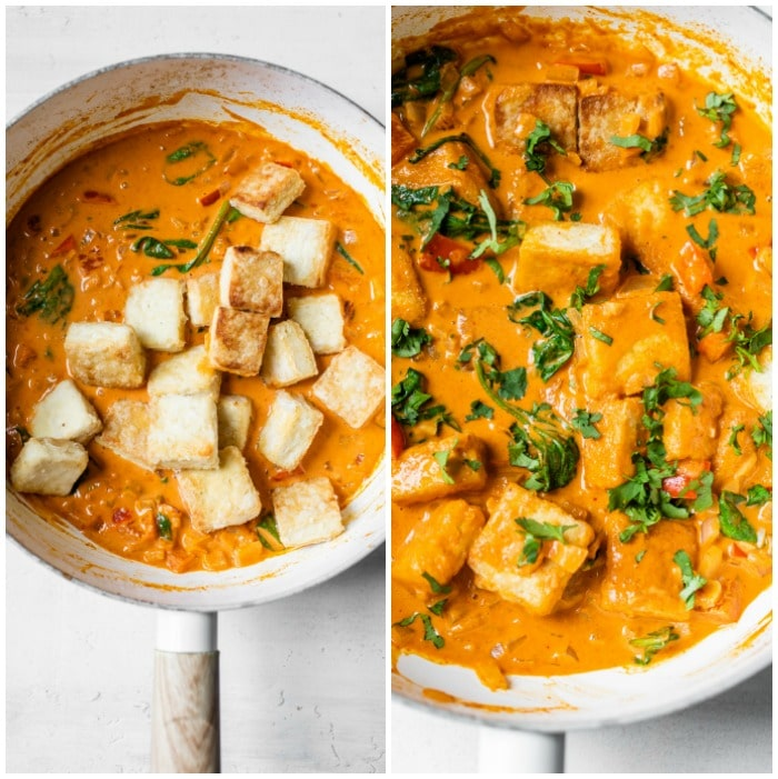 curry in a skillet with tofu