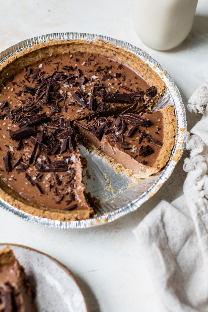 chocolate pie with chocolate shavings