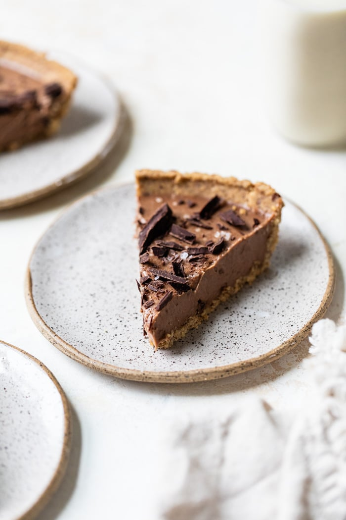 a slice of chocolate pie