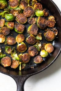 fried brussels sprouts in a skillet