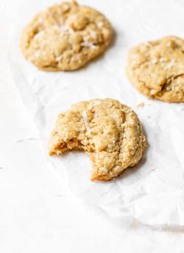 coconut cookies on parchment paper