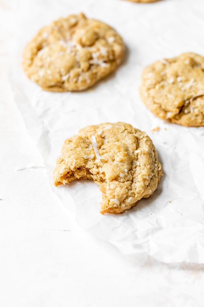 coconut cookies on parchment paper