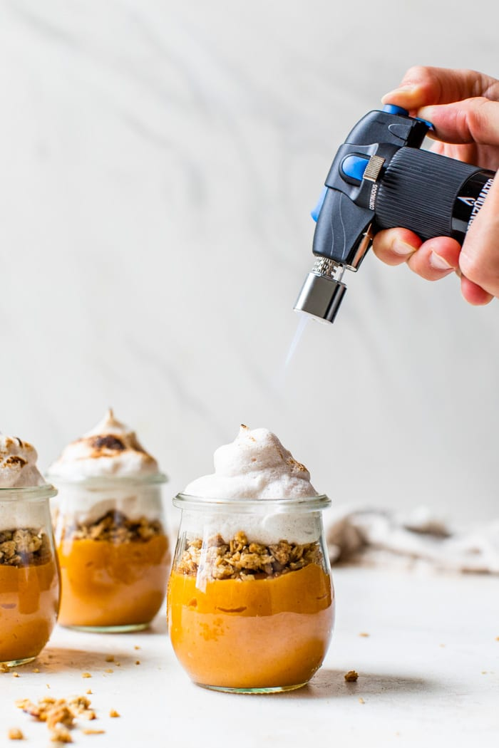 sweet potato mousse with torched meringue