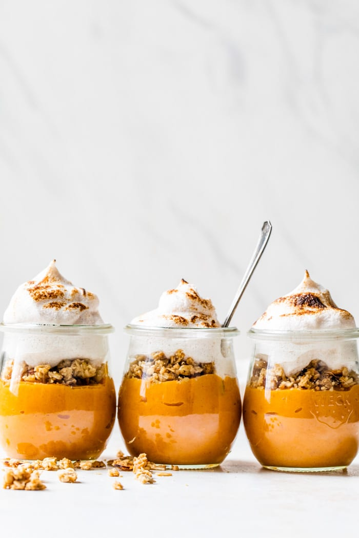 sweet potato mousse in jars with meringue