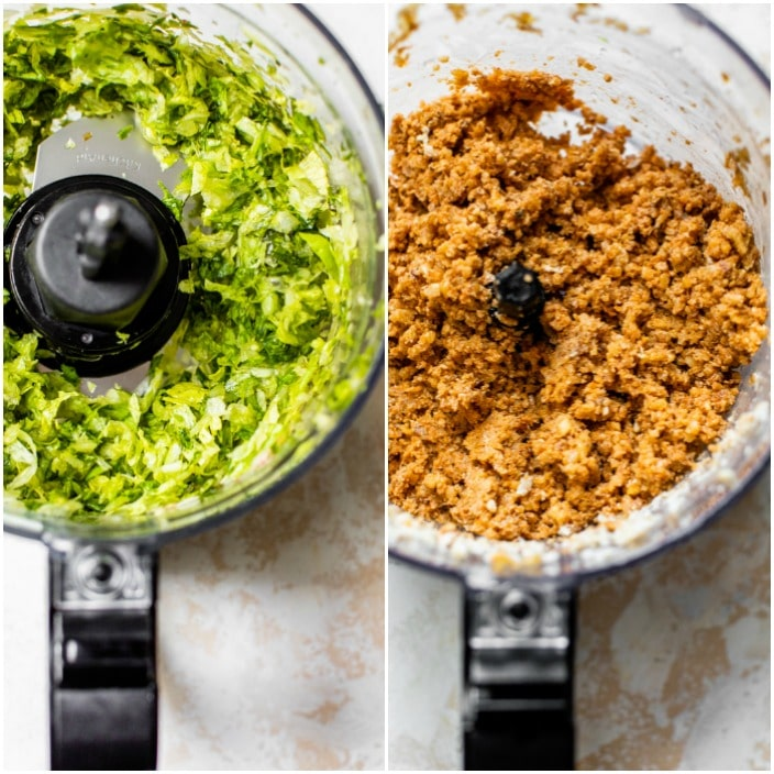 lettuce in a food processor and walnuts in a food processor