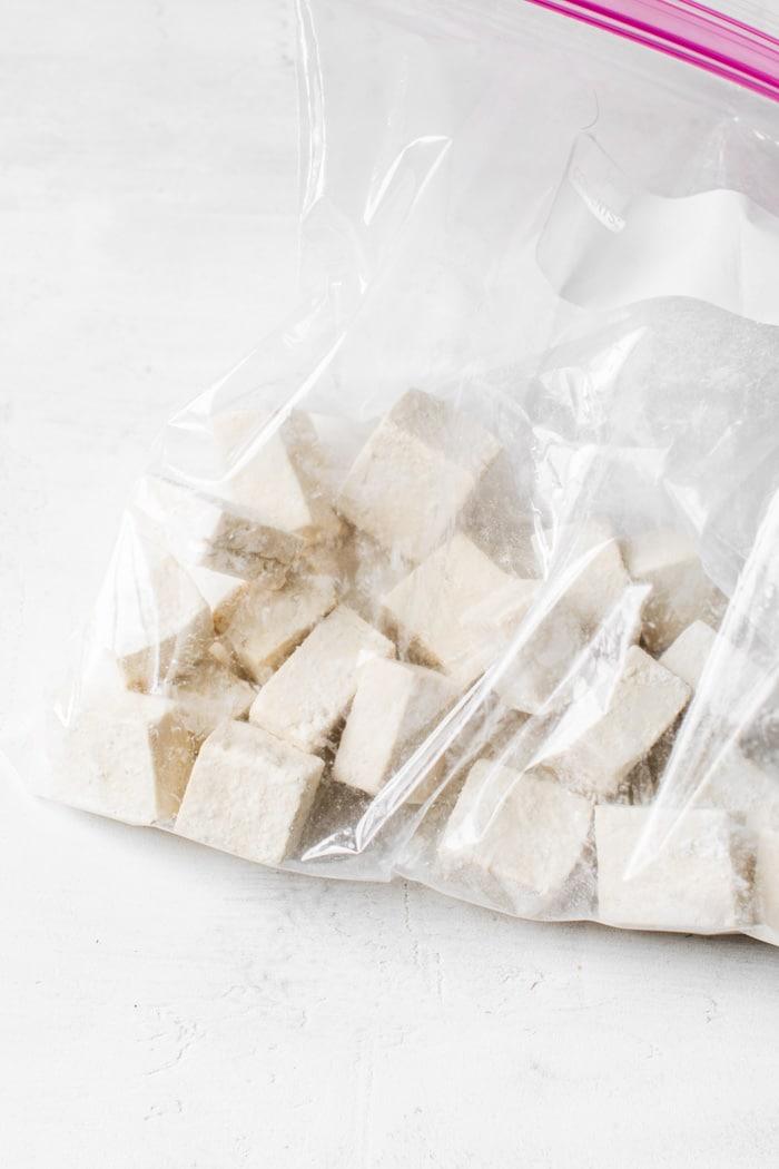 tofu in a plastic bag