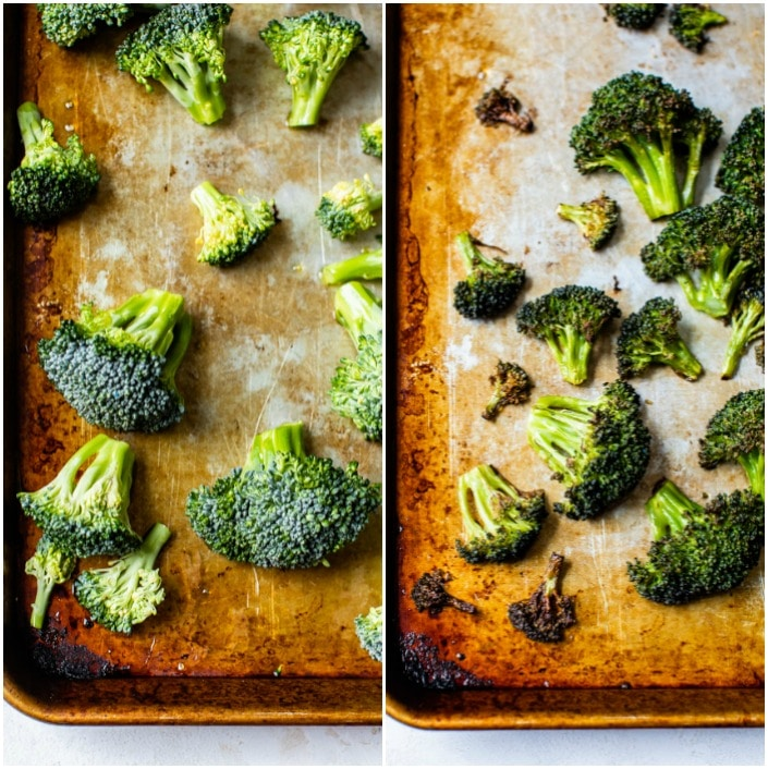 broccoli on a baking sheet