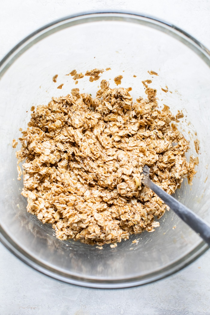 mashed banana in a bowl with oats