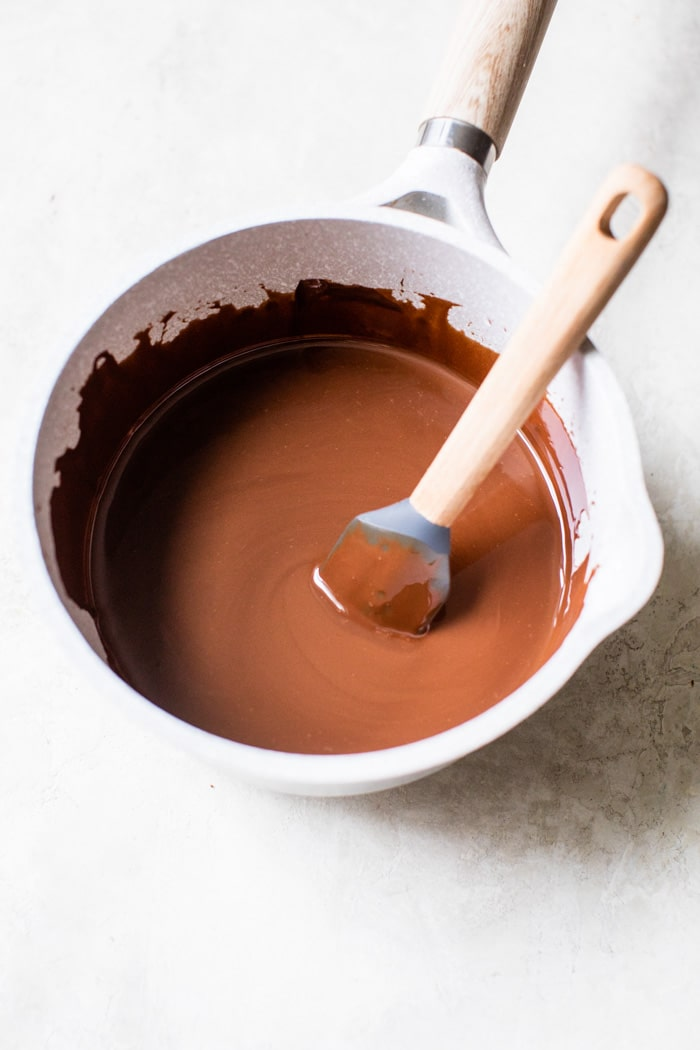 melted chocolate in a saucepan
