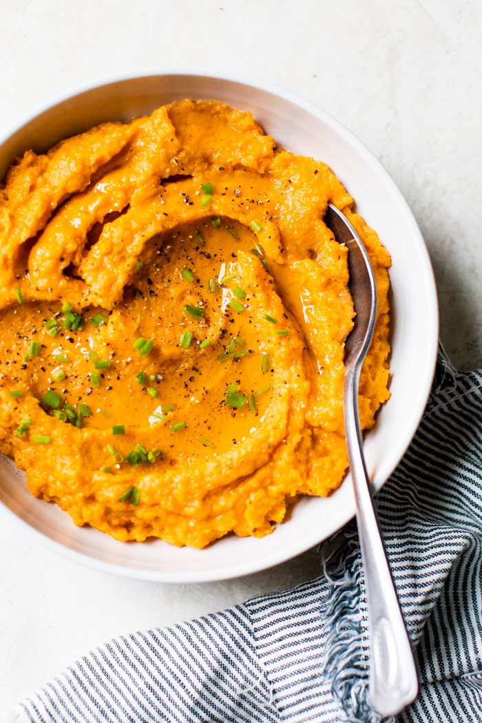 a bowl of mashed sweet potatoes
