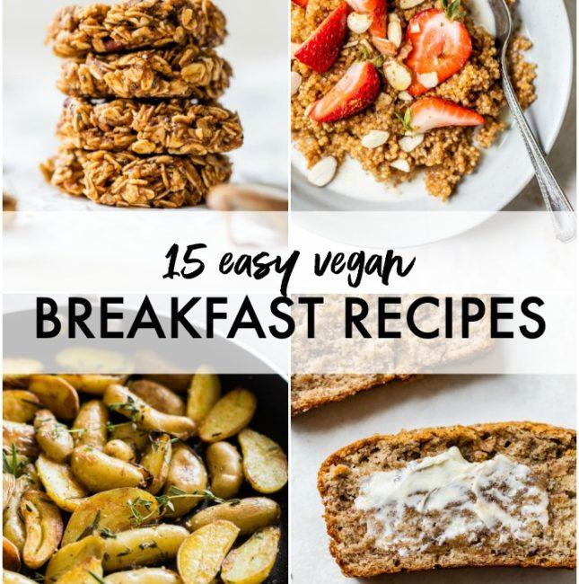 collage of vegan breakfast recipes