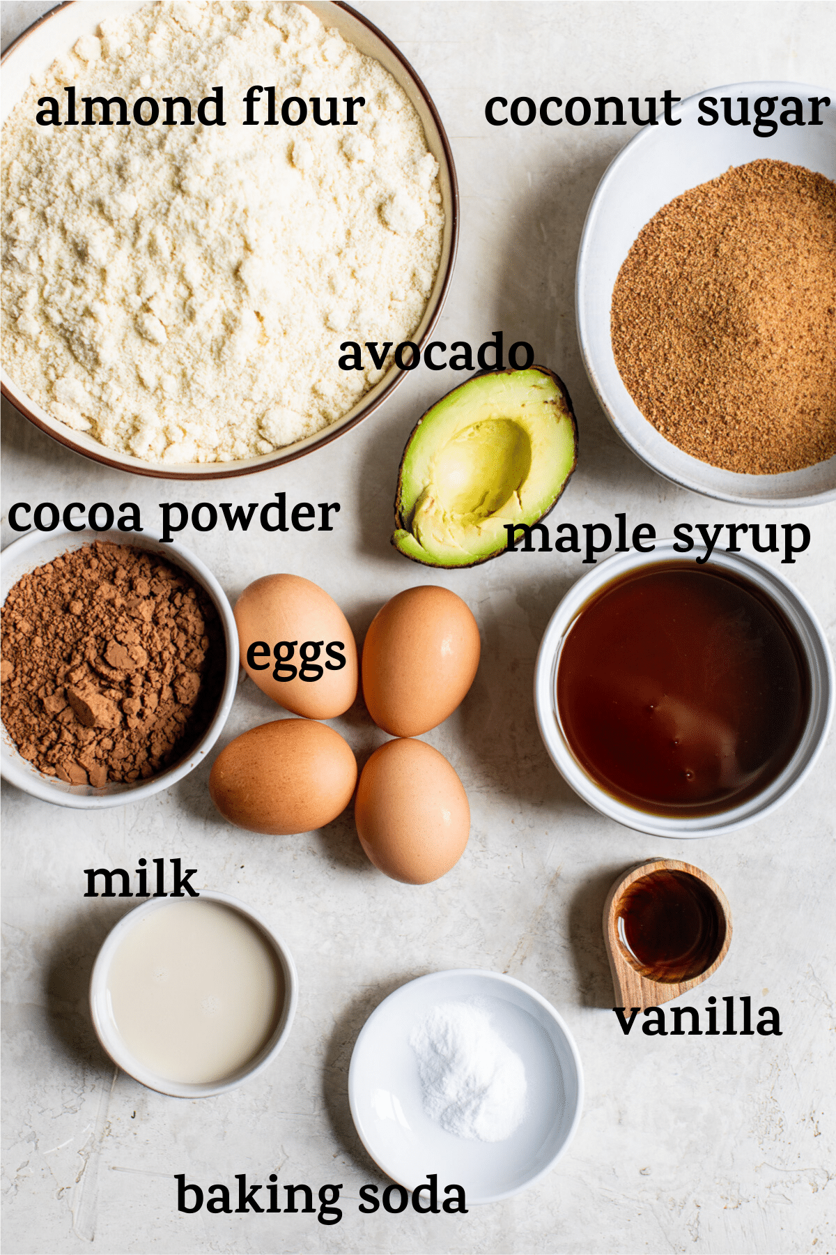 chocolate cake ingredients with text overlay