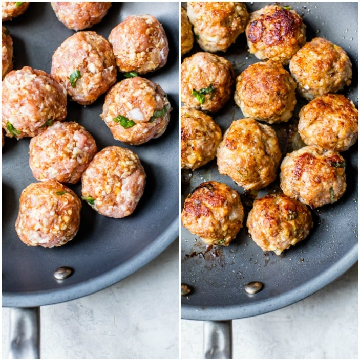 raw and cooked meatballs in a skillet
