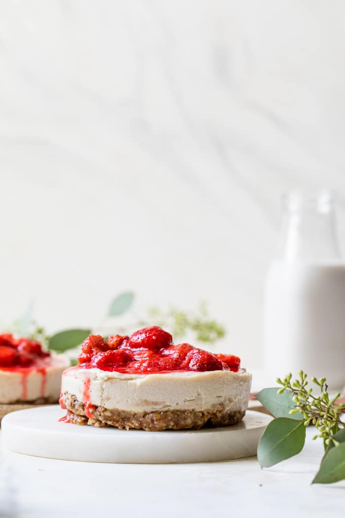 mini no bake cheesecake topped with strawberry compote