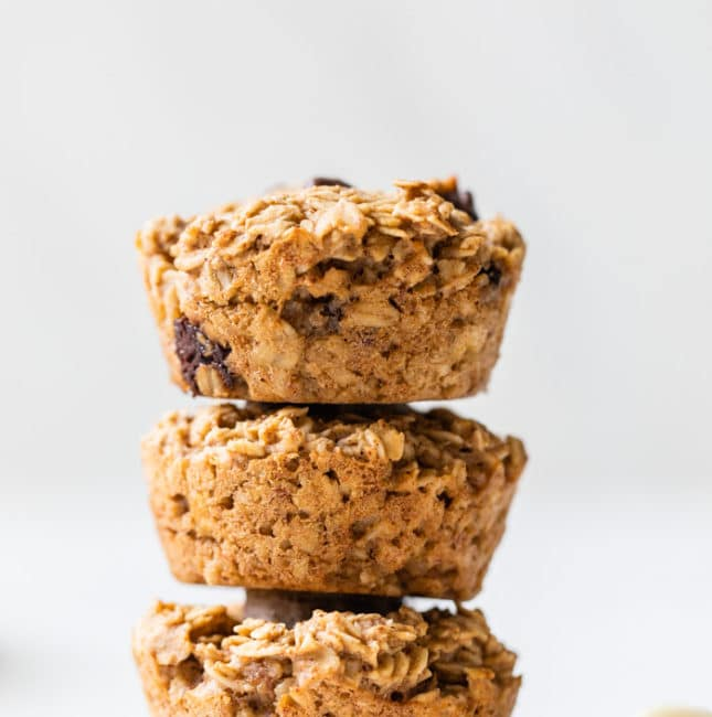stack of chocolate chip oat muffins