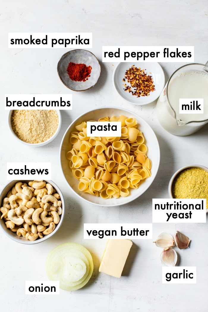 mac and cheese ingredients with text overlay