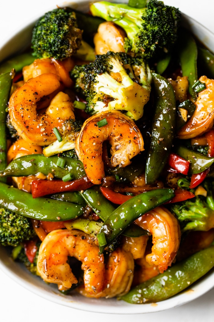shrimp and veggies in a bowl