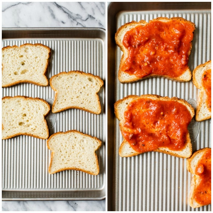 bread topped with tomato sauce on a baking sheet