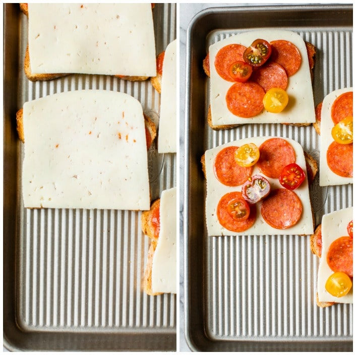 bread topped with cheese, pepperoni and tomatoes on a baking sheet