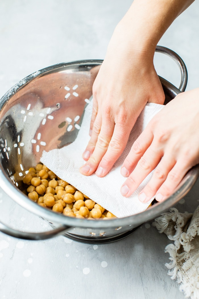 chickpeas in a colander