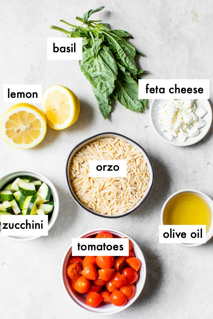ingredients to make an orzo salad