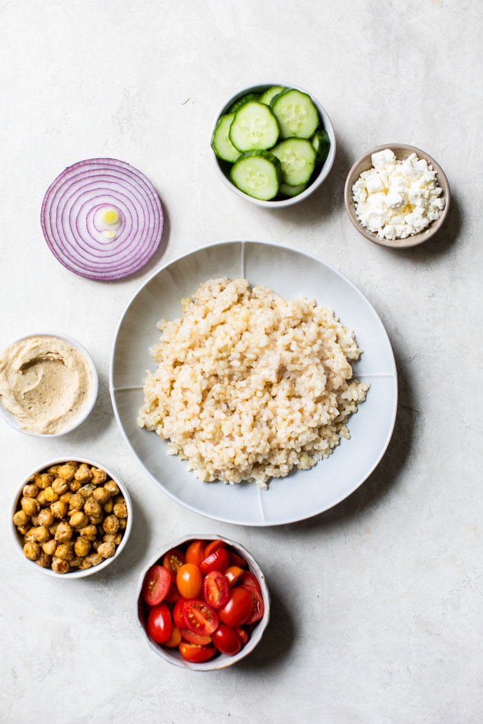 mediterranean ingredients in bowls