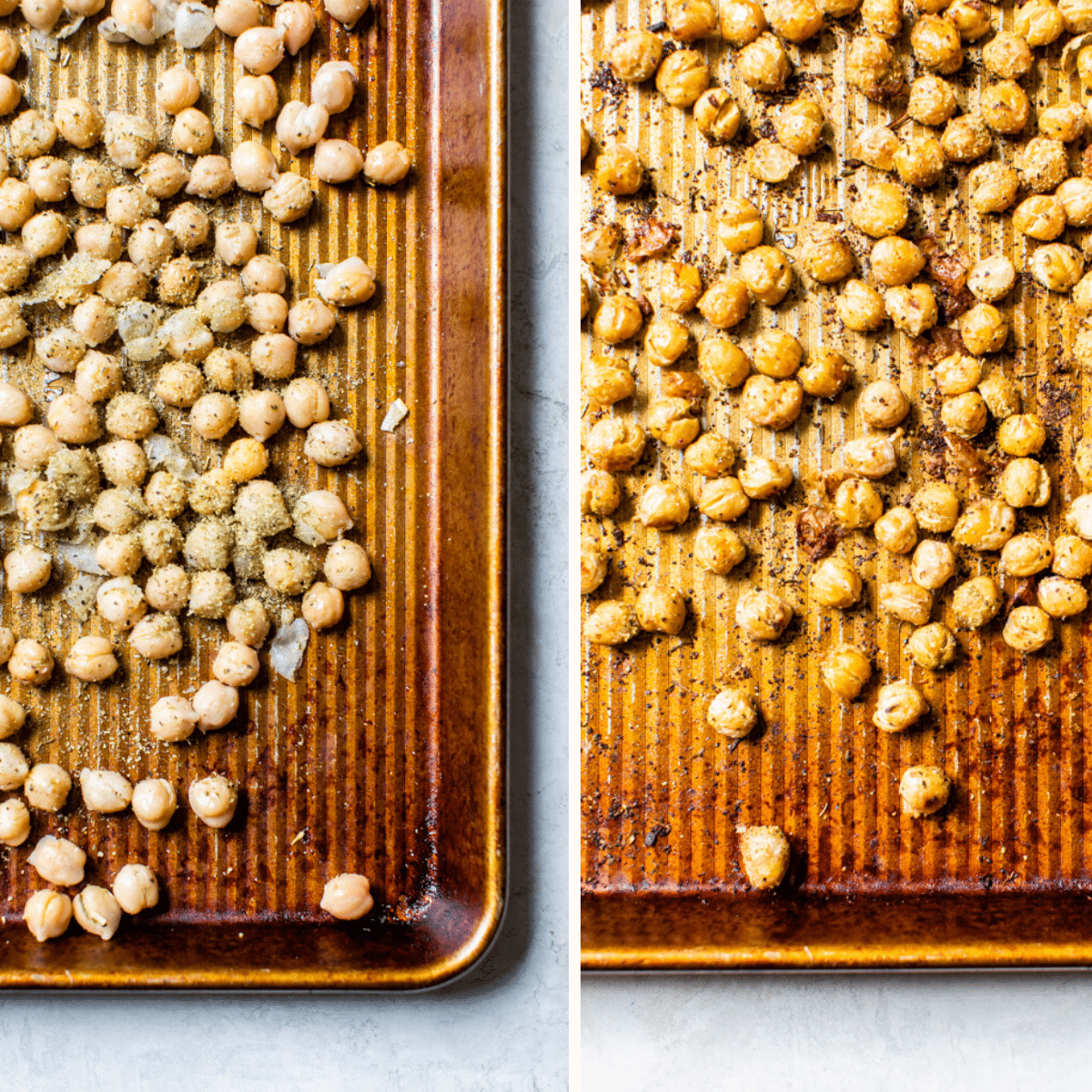 chickpeas on a baking sheet