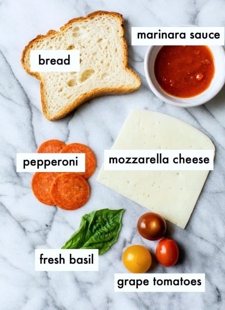 ingredients to make pizza toast