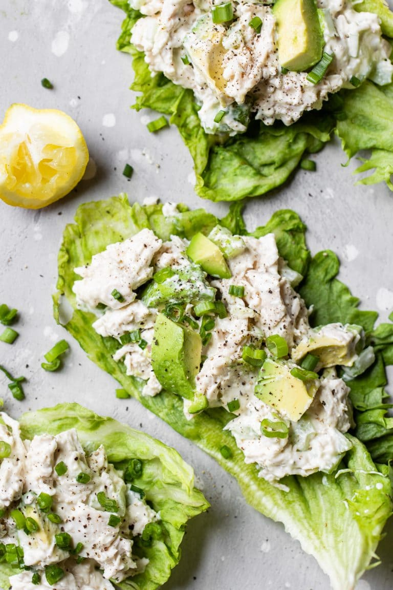 chicken on a piece of romaine lettuce