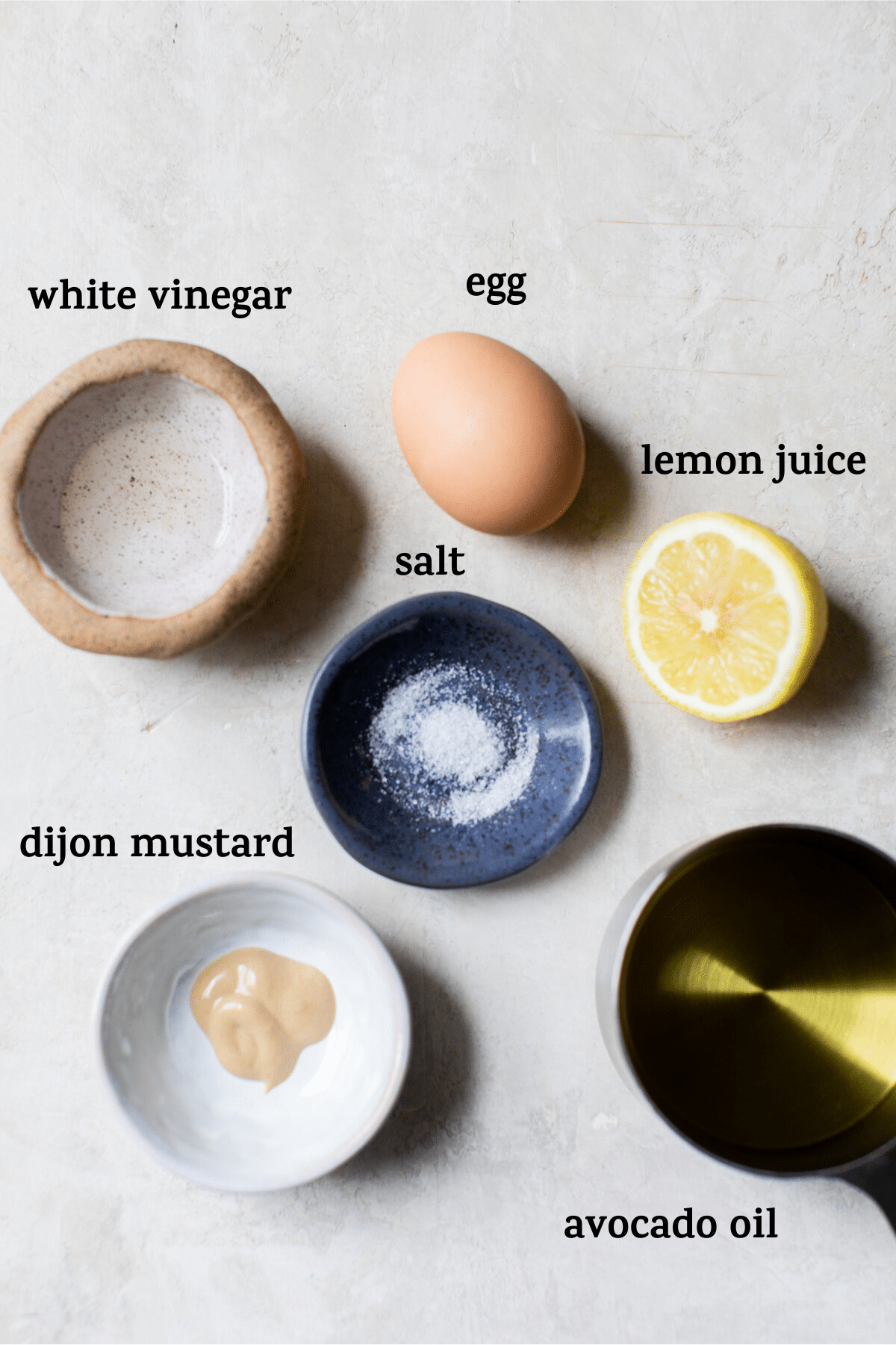 mayonnaise ingredients with text overlay
