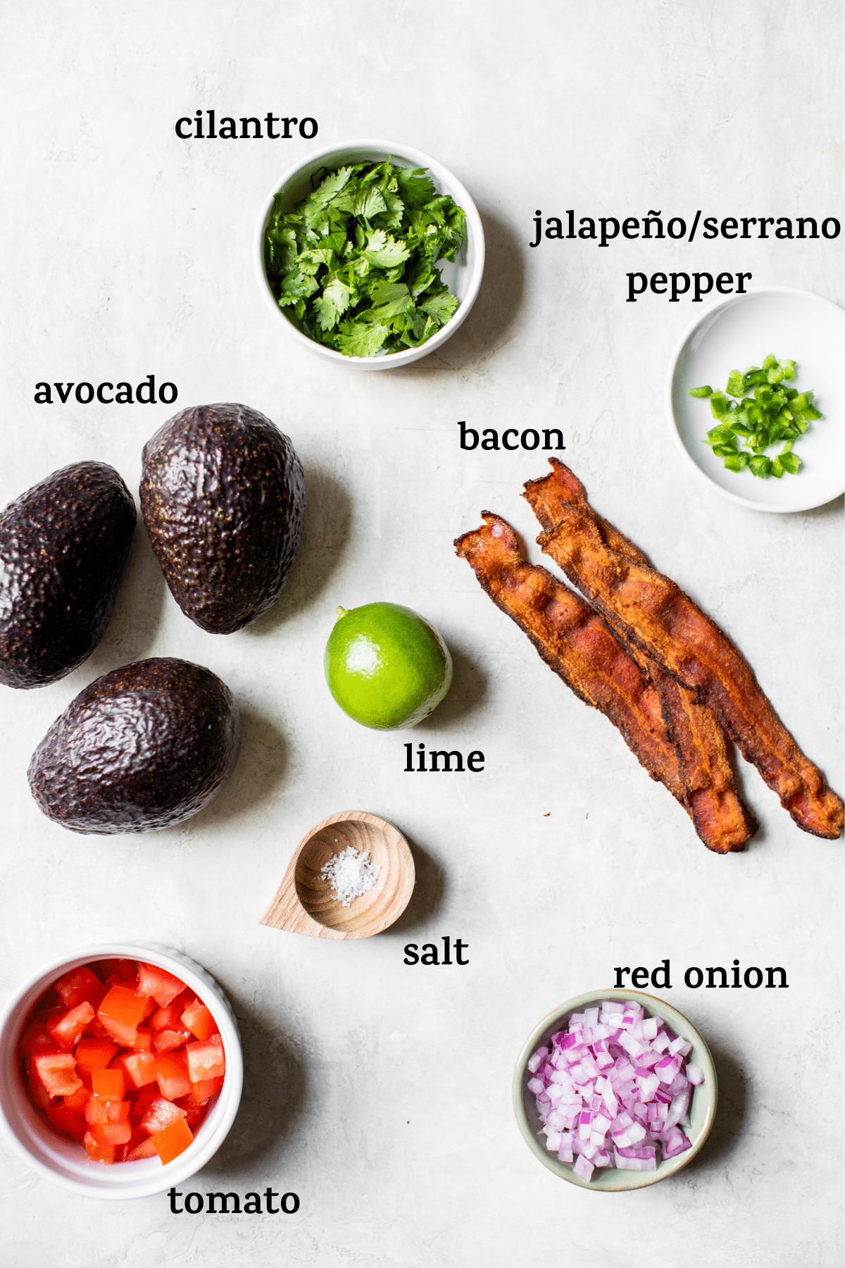 guacamole ingredients with text overlay