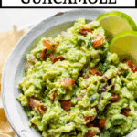 bowl of guacamole with text overlay