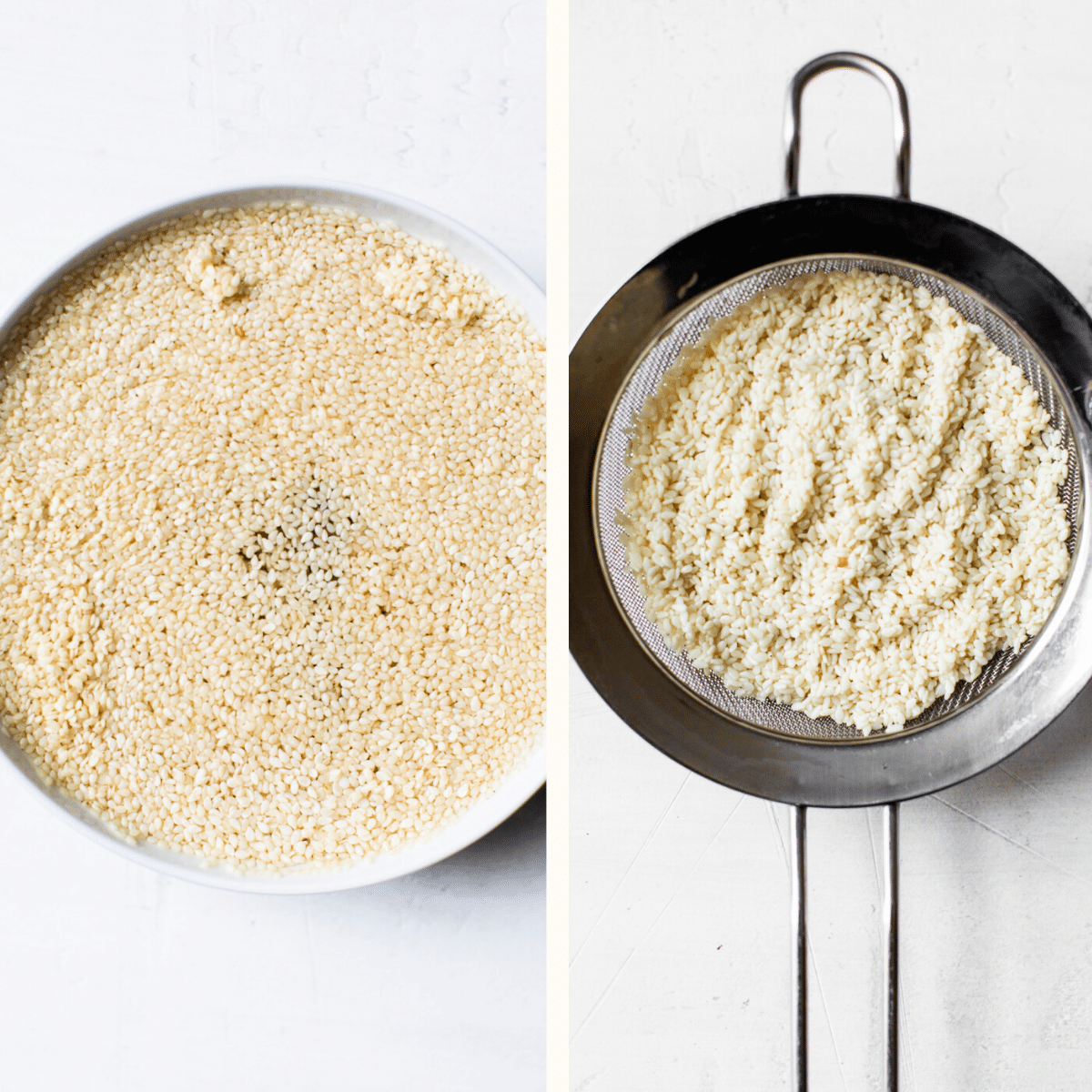sesame seeds in a bowl and in a strainer