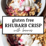berry crisp with text overlay
