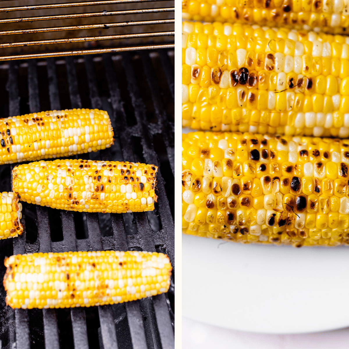 charred corn on a grill