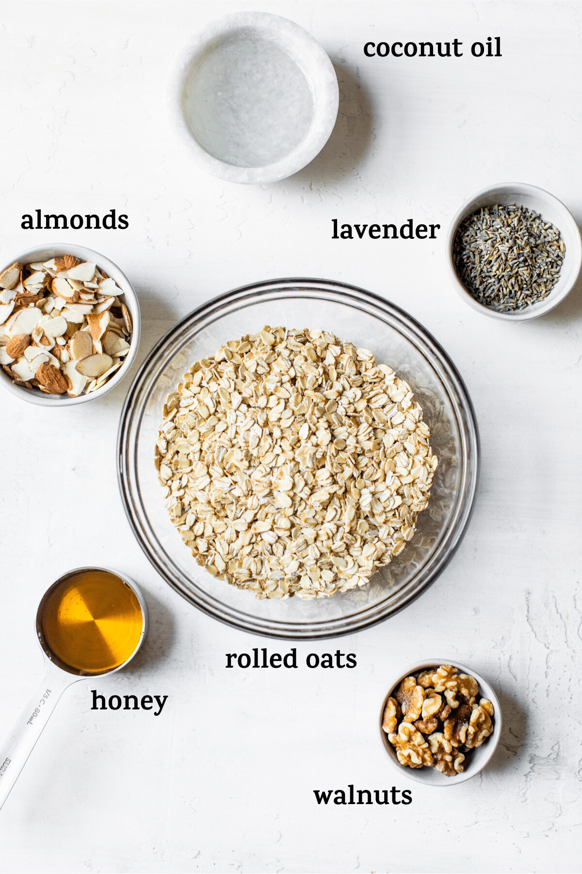 granola ingredients with text overlay