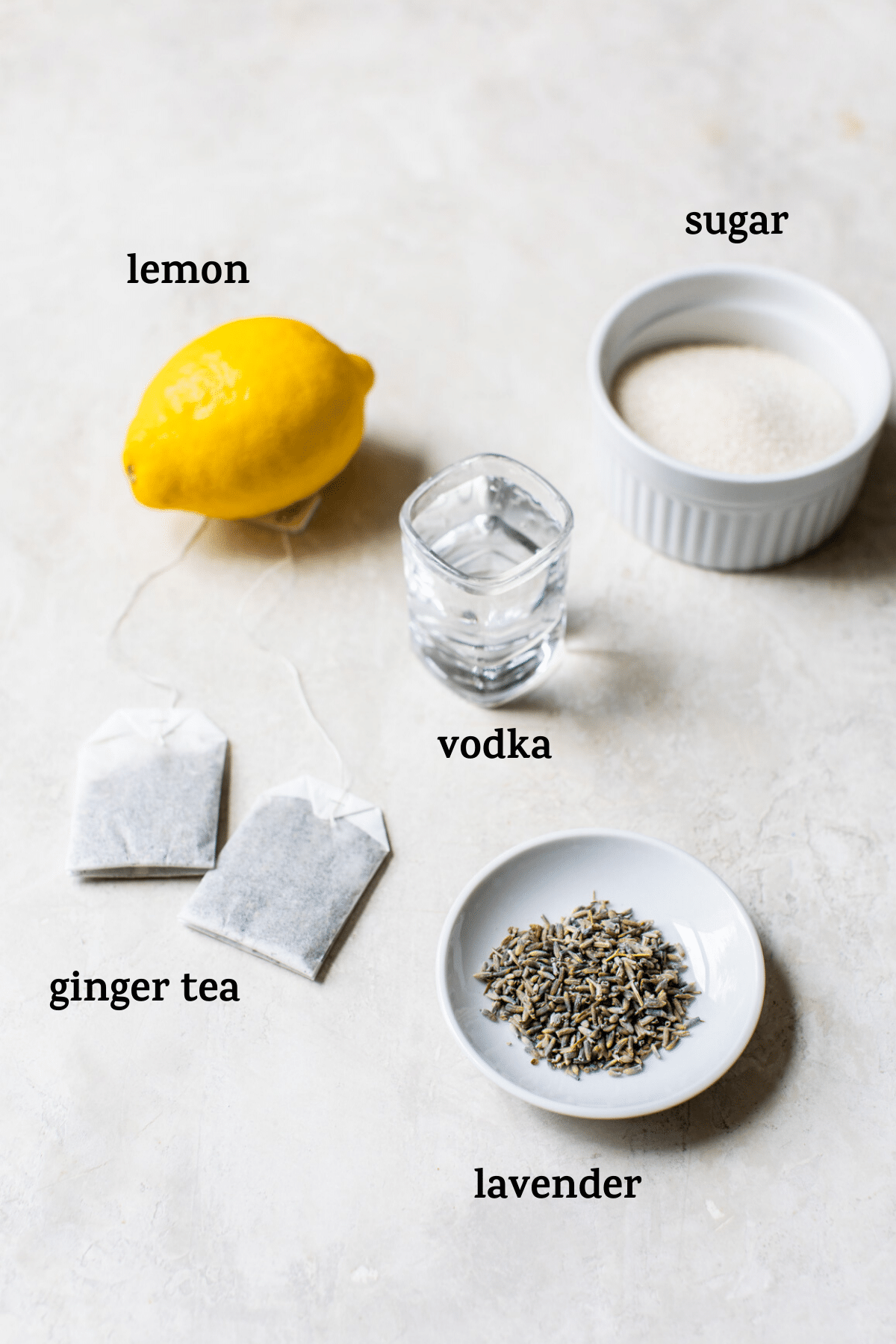 ingredients to make a cocktail with text overlay