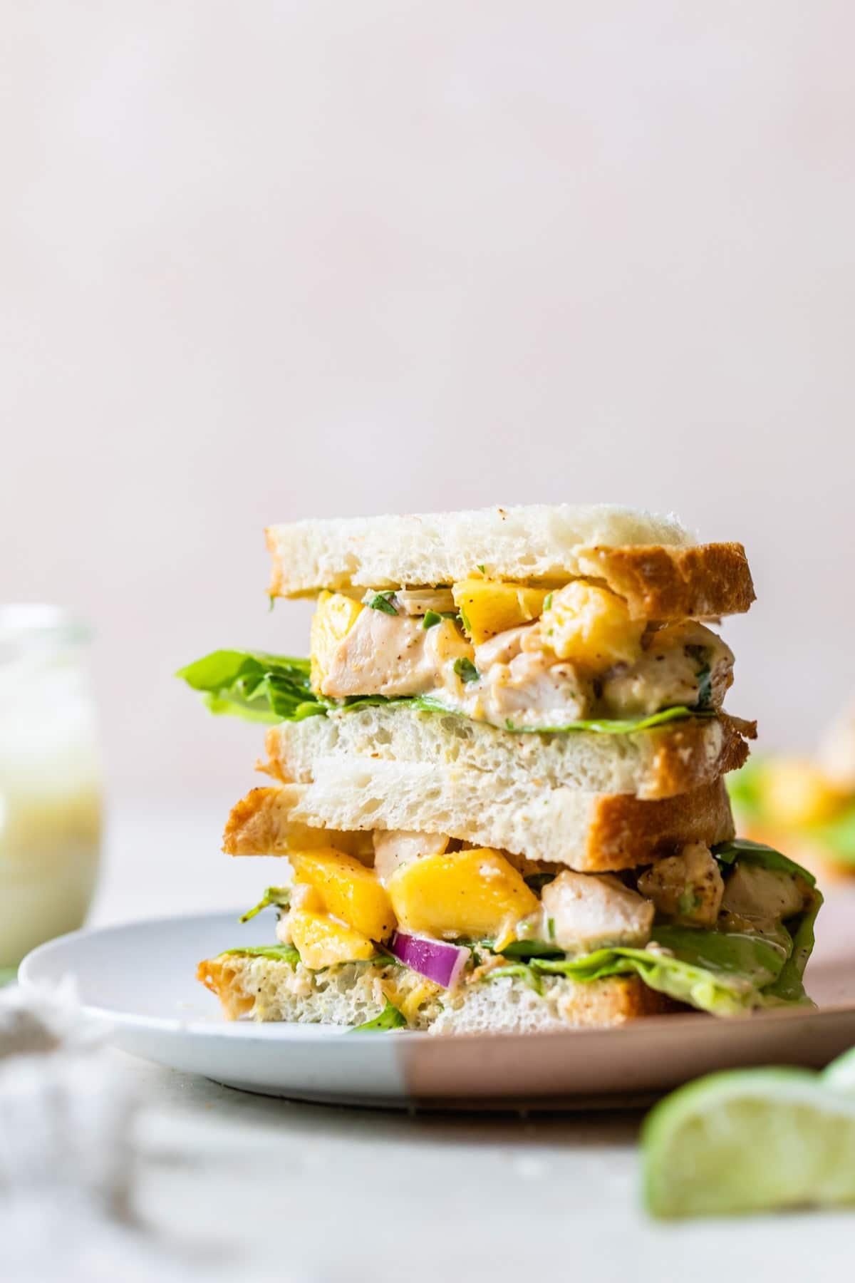 chicken and mango stacked sandwich