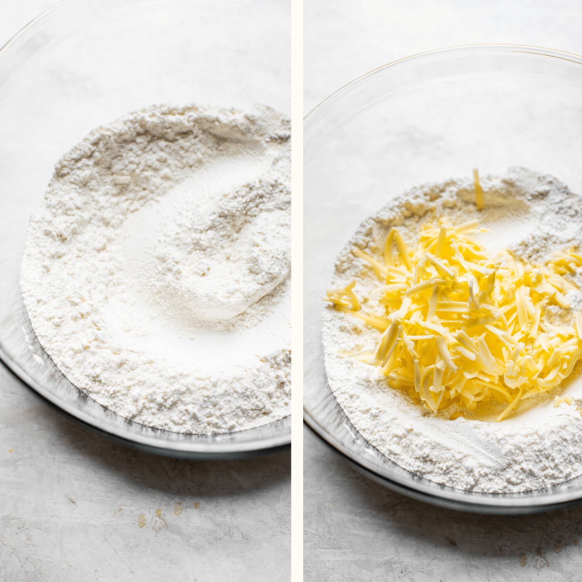 flour in a bowl with cold butter