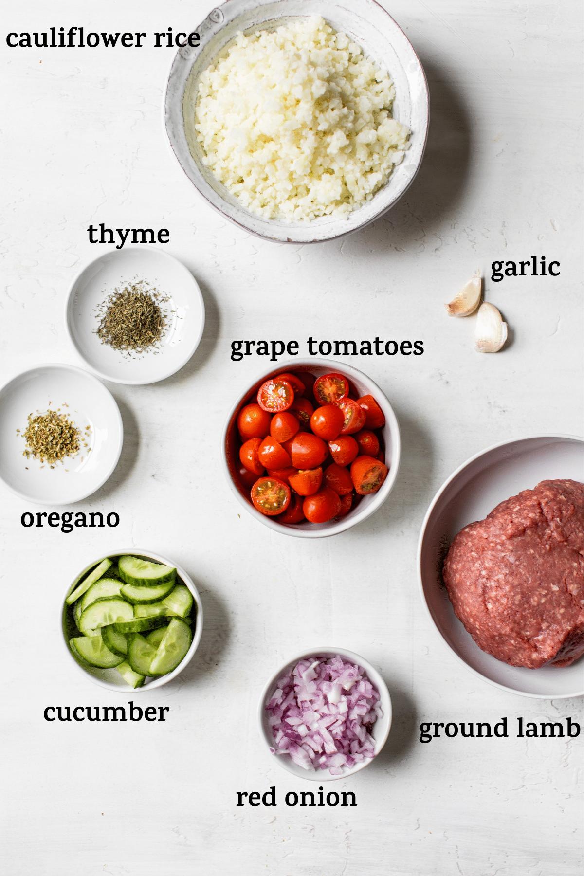 ingredients to make lamb bowl