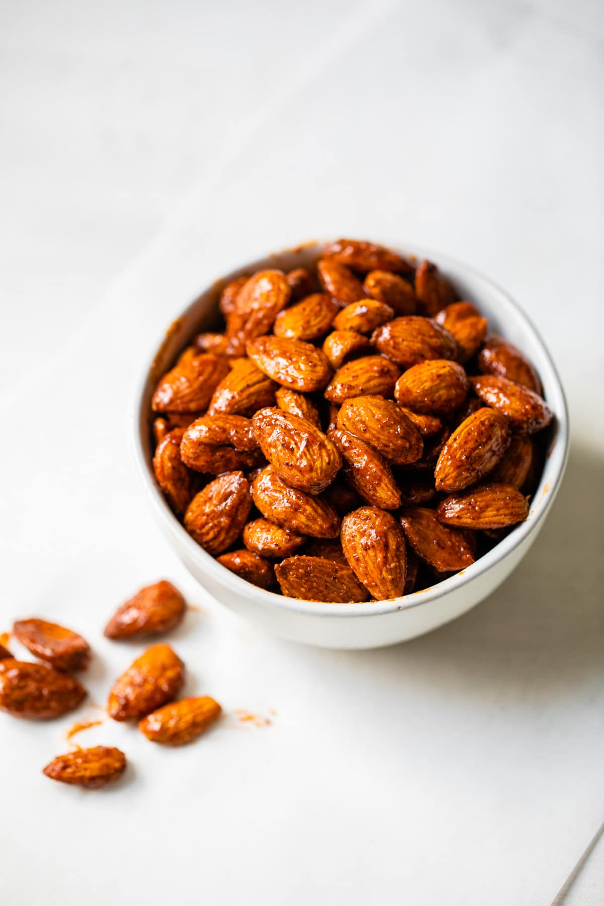 flavored almonds in a bowl