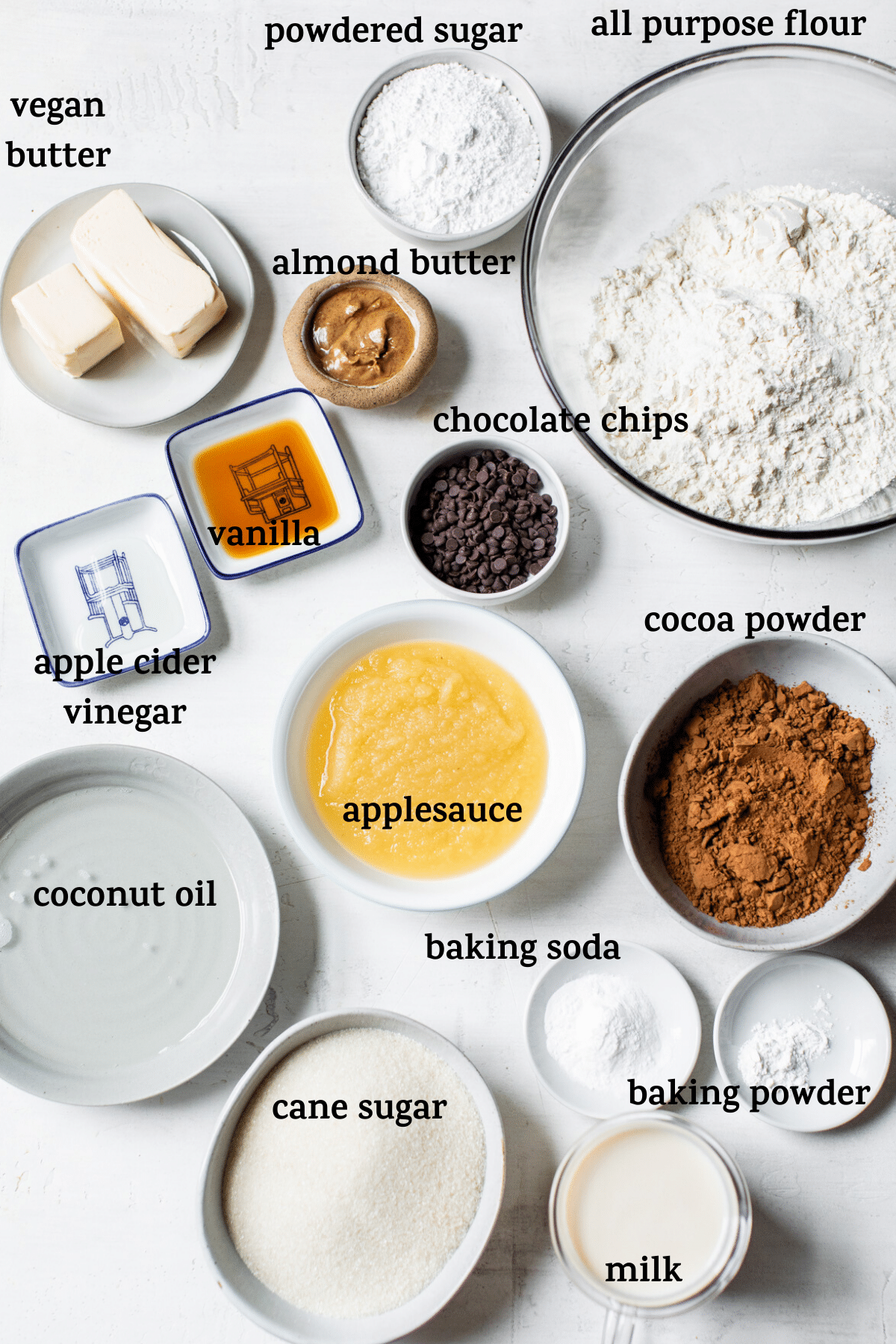 cake ingredients with text