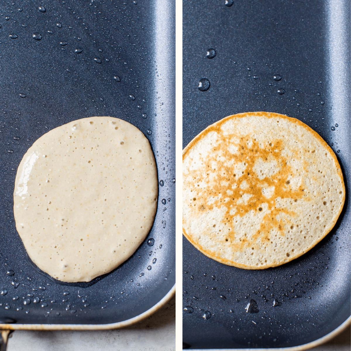 a pancake on a griddle
