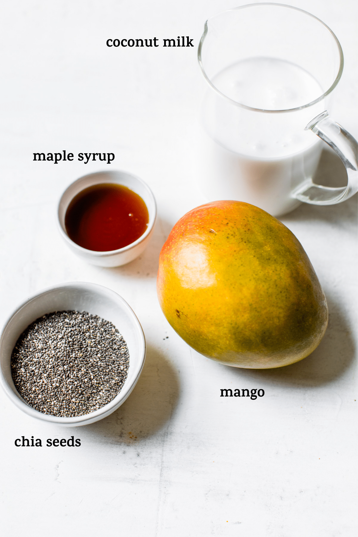 chia pudding ingredients with text overlay