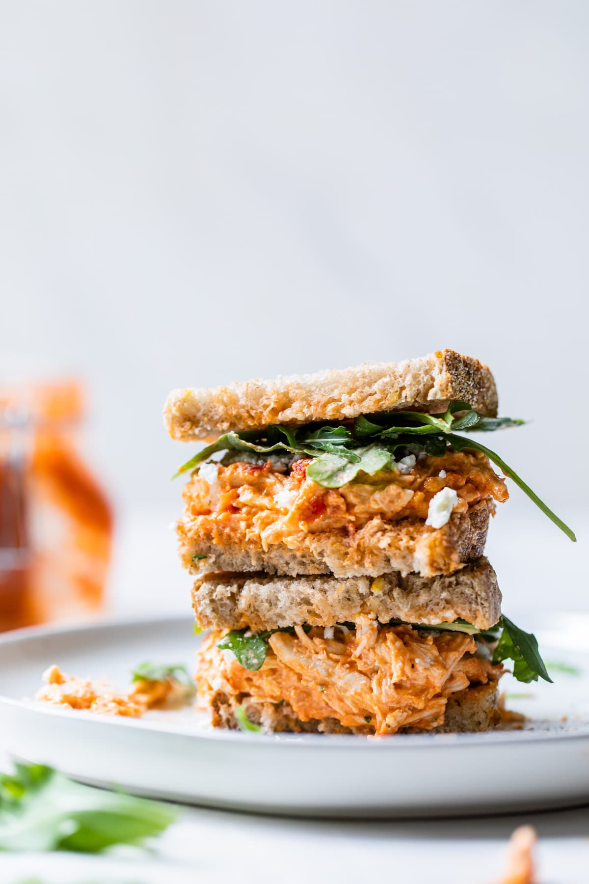 stacked chicken salad sandwich