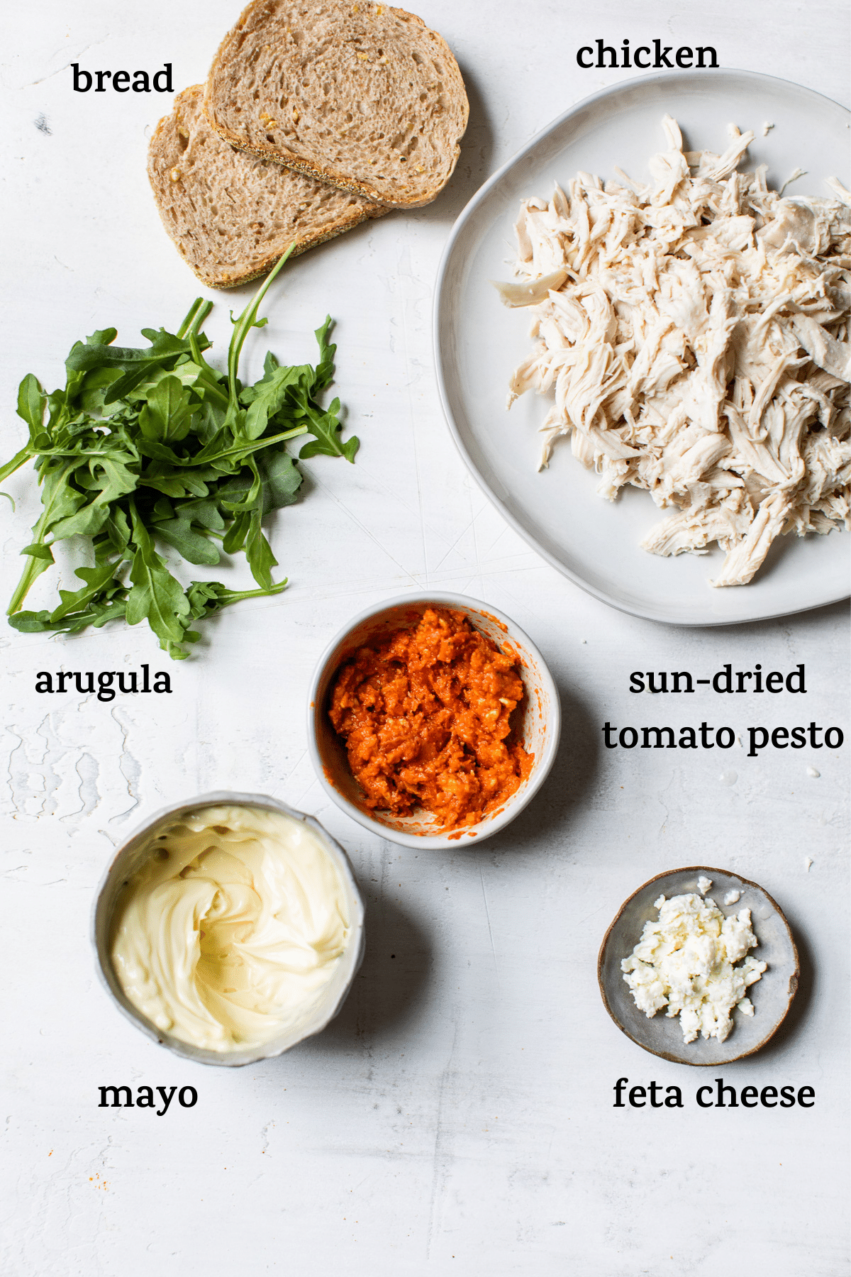 chicken salad ingredients with text overlay