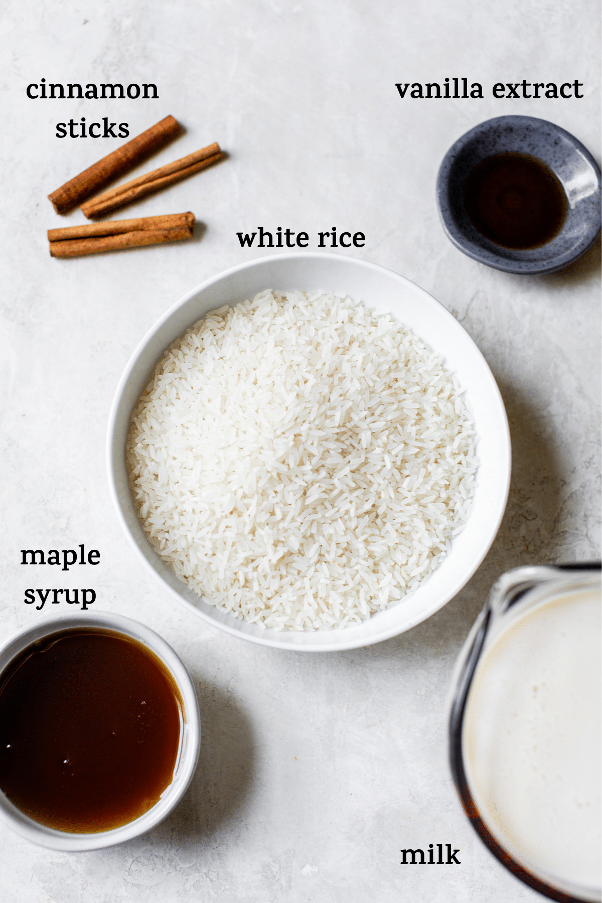 arroz con leche ingredients with text overlay