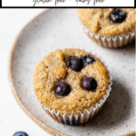 muffin on a plate with text overlay