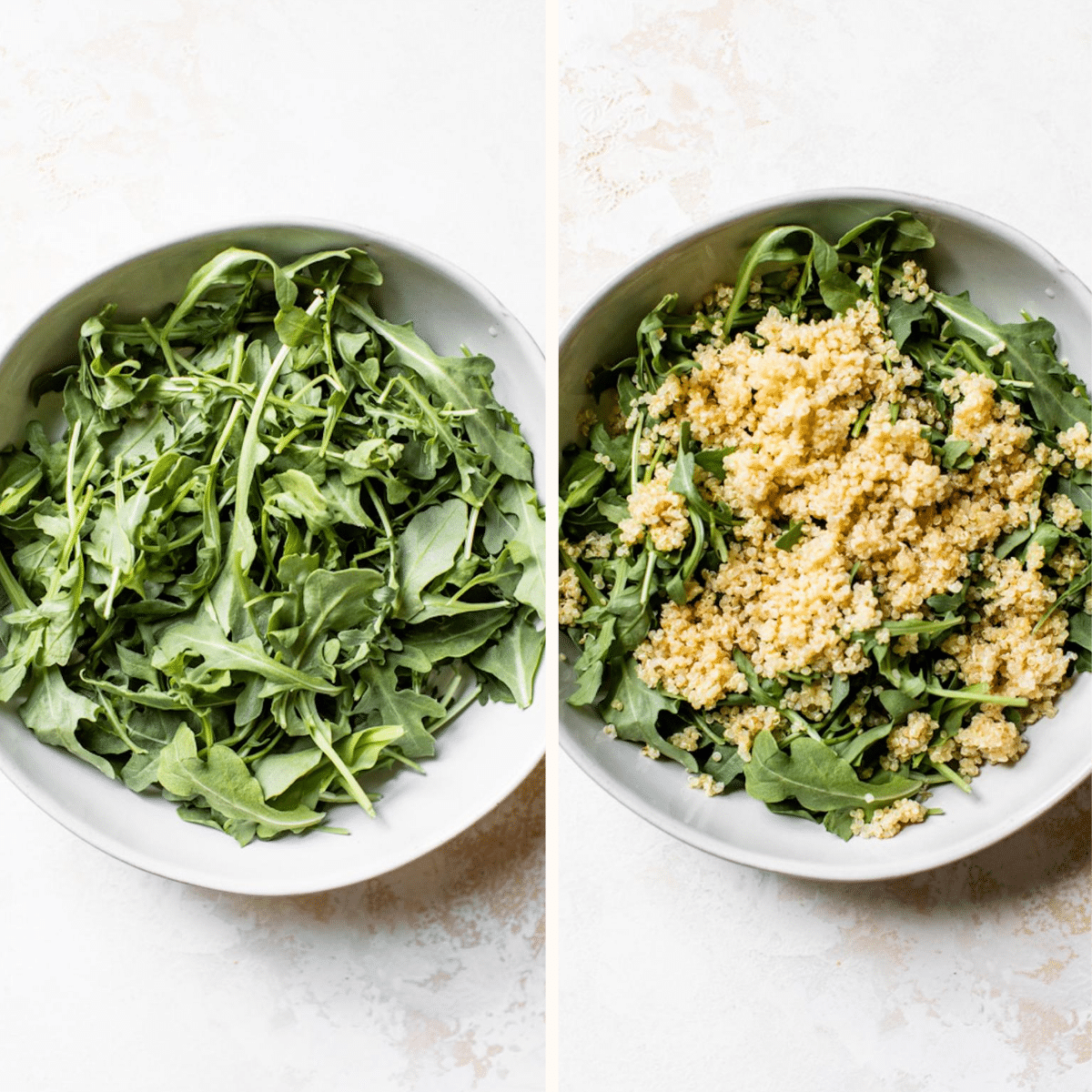 A bowl of arugula and quinoa